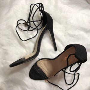 Lulus Clear Strappy Vegan Suede Heels size 5.5